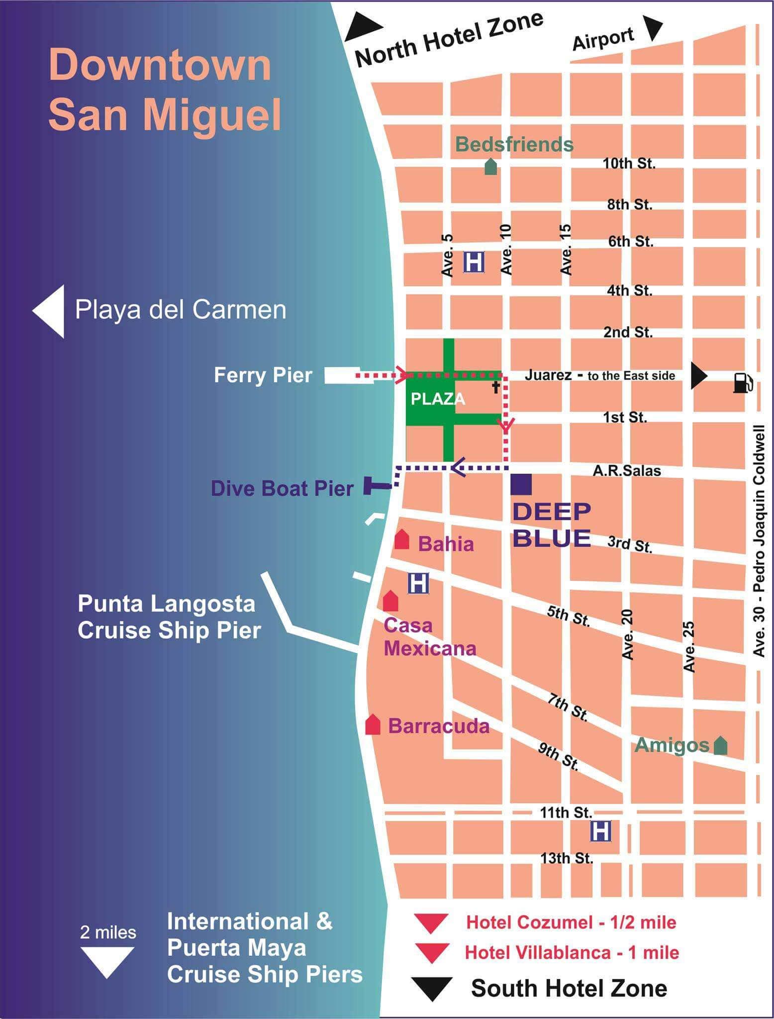 Deep Blue Cozumel Downtown map