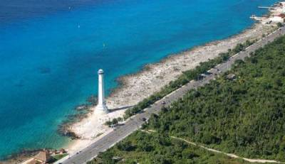 Cozumel Island road and lighthouse
